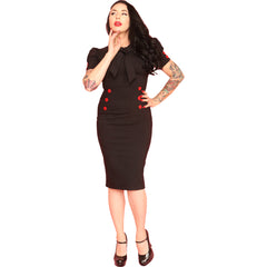 Pinky Pinups Short Puff Sleeve Collar Tie Wiggle Dress Black Vintage Rockabilly