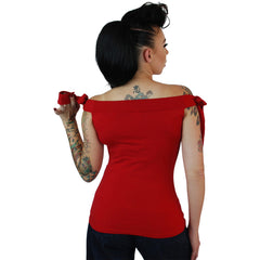 Women's Pinky Pinups Shoulder Top Red Retro Vintage Rockabilly Pin Up