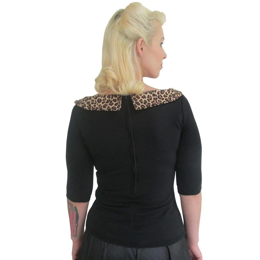 Women's Pinky Pinups Side Bow Leopard 3/4 Sleeve Top Retro Rockabilly Pinup
