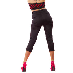 Women's Pinky Pinups Side Zipper Capri Pants Black Twill Retro Rockabilly Pinup