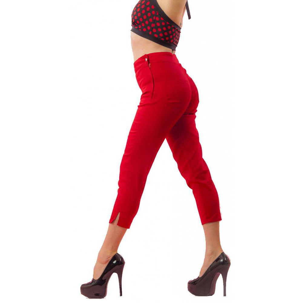 Women's Pinky Pinups Side Zipper Capri Pants Red Twill Retro Rockabilly Pinup