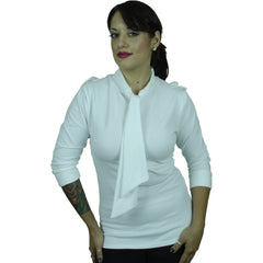 Women's Pinky Pinups Stand Collar Tie Top White Retro Vintage Rockabilly Pin Up