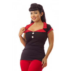 Women's Pinky Pinups Tailored Top Black/Red Retro Vintage Rockabilly Pinup