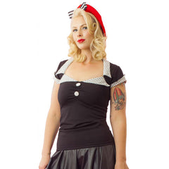 Women's Pinky Pinups Tailored Top Black/White Retro Vintage Rockabilly Pinup