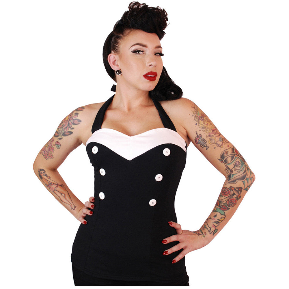 Women's Pinky Pinups V-Cut Halter Top Black/White Retro Vintage Rockabilly