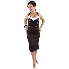 Womens Pinky Pinups Va-Va-Voom Wiggle Dress Black/White Rockabilly Retro Vintage