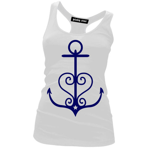 Women's Pinky Star Anchor Heart Tank Top White Nautical