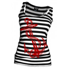 Women's Pinky Star Anchor's Aweigh Beater Tank Top Black/White Stripe Nautical