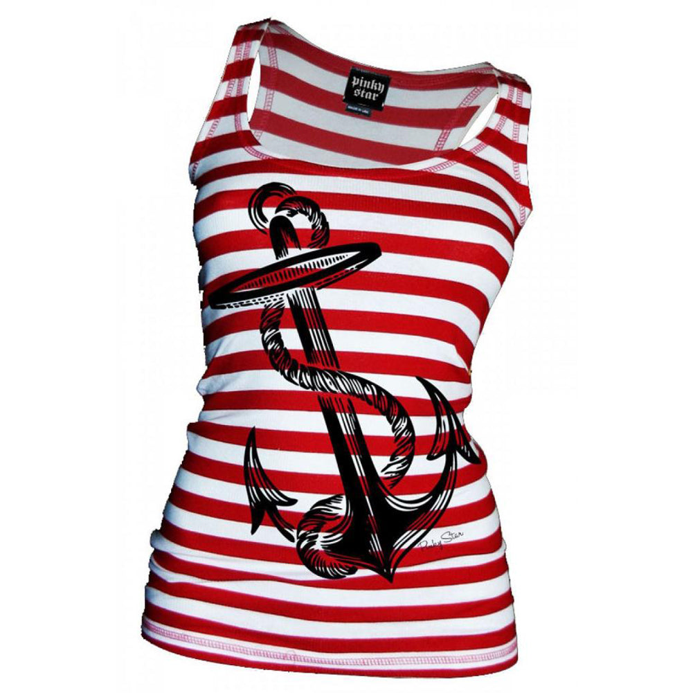 Women's Pinky Star Anchor's Aweigh Beater Tank Top Red/White Stripe Nautical