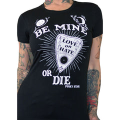 Women's Pinky Star Be Mine Or Die T-Shirt Black Ouija Paranormal