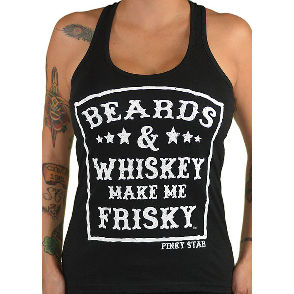 Women's Pinky Star Beards And Whiskey Racerback Tank Top Beard Life Alcohol