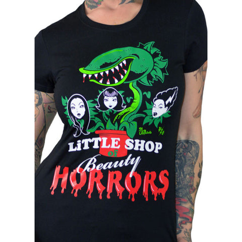 Women's Pinky Star Beauty Horrors T-Shirt Black Little Shop Of Horrors