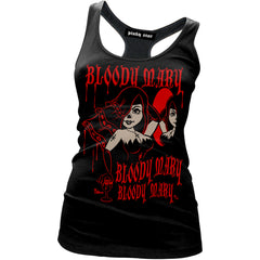 Women's Pinky Star Bloody Mary Racer Back Tank Top Black Horror
