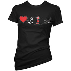 Women's Pinky Star By The Sea T-Shirt Black Nautical Tattoo Flash Anchor