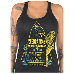 Women's Pinky Star Cleopatra Beauty Wraps Racerback Tank Top Mummy Egyptian
