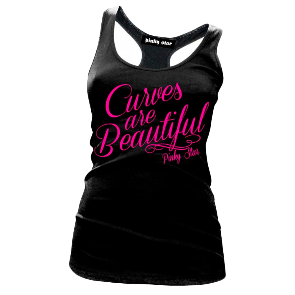 Women's Pinky Star Curves Are Beautiful Racerback Tank Top Sexy Bombshell