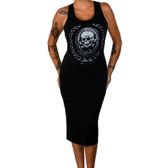 Pinky Star Death or Glory Tank Dress Black Skull Crossbones Punk Goth