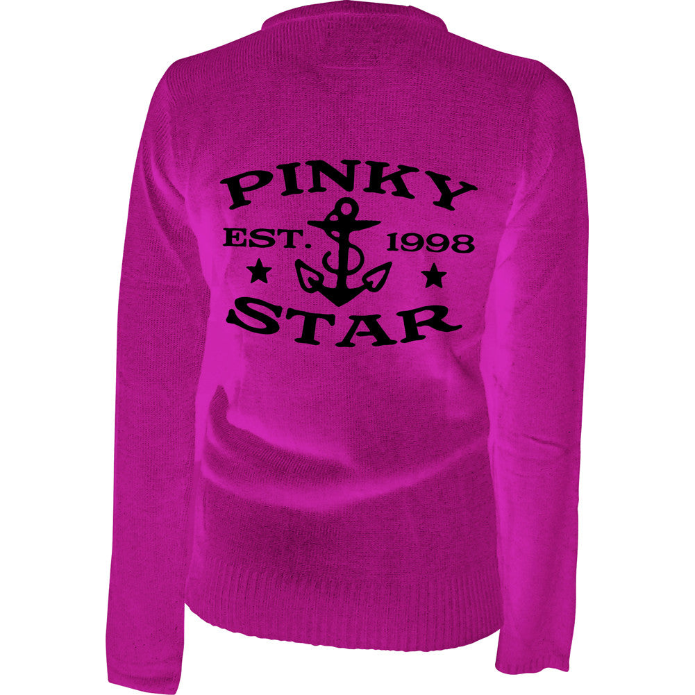 Women's Pinky Star Established 1998 Cardigan Pink Nautical Rockabilly