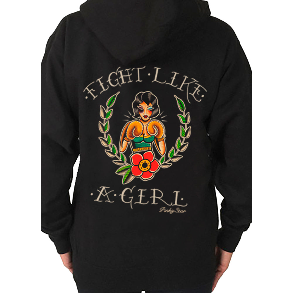 Womens Pinky Star Fight Like A Girl Hoodie Black American Traditional Tattoo Art