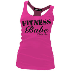 Women's Pinky Star Fitness Babe Racerback Tank Top Pink Workout
