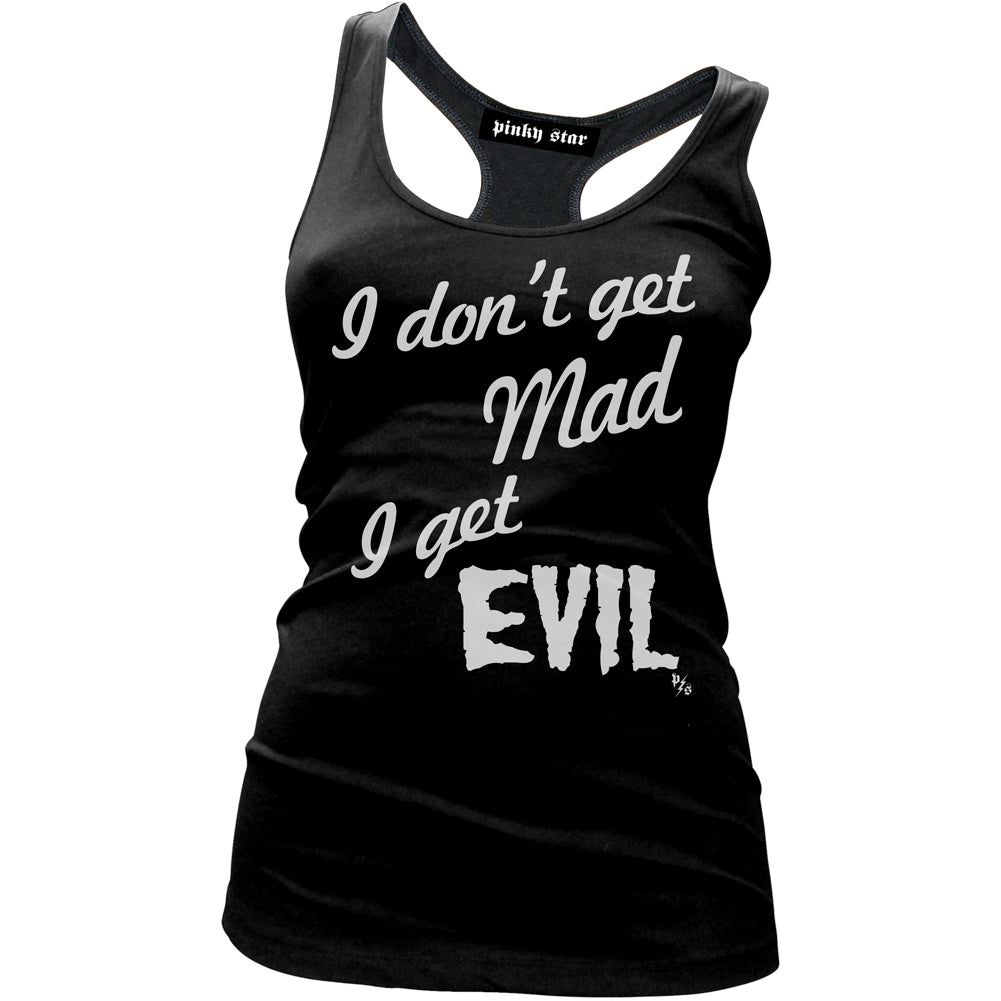 Women's Pinky Star I Get Evil Tank Top Black I Don't Get Mad Goth Creepy Girl