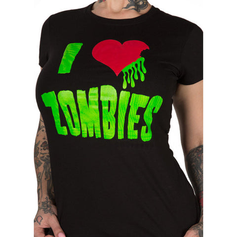 Women's Pinky Star I Love Zombies T-Shirt Horror Psychobilly