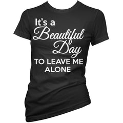 Women's Pinky Star Its A Beautiful Day T-Shirt Black Leave Me Alone Goth