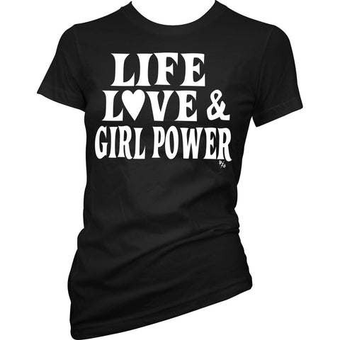 Women's Pinky Star Life Love Girl Power T-Shirt Black Heart
