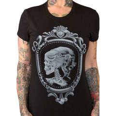 Women's Pinky Star Lolita T-Shirt Victorian Lady Skeleton Skull Cameo