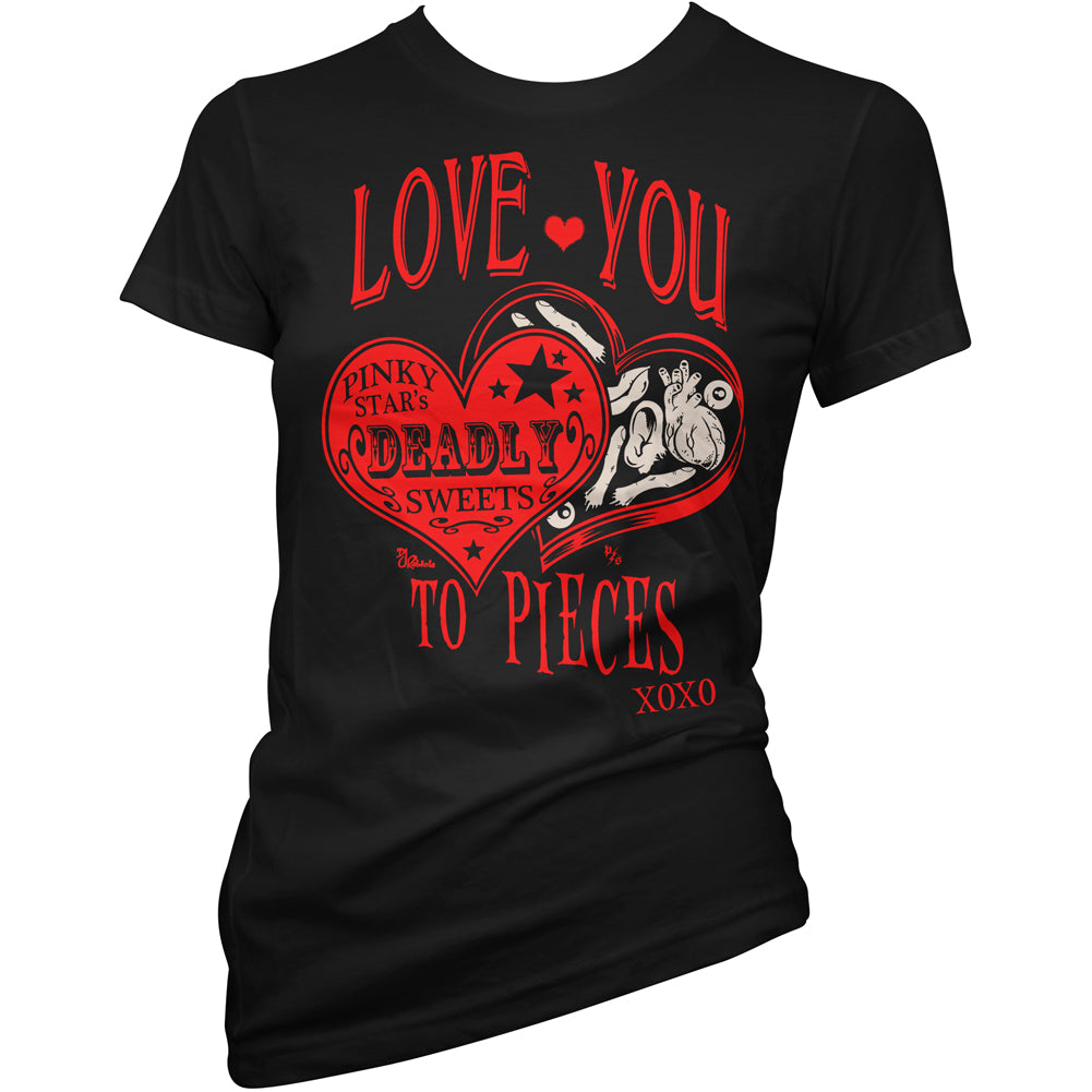 Women's Pinky Star Love You To Pieces T-Shirt Black Body Parts Chocolates