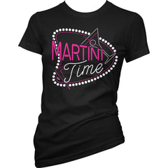 Women's Pinky Star Martini Time T-Shirt Black Booze Alcohol Drinking Party Retro