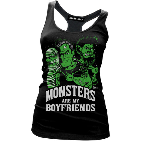 Women's Pinky Star Monsters Are My Boyfriends Racerback Tank Top Black Horror
