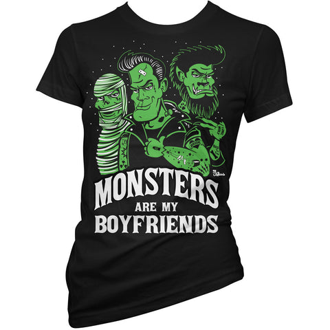 Women's Pinky Star Monsters Are My Boyfriends T-Shirt Black Horror Psychobilly