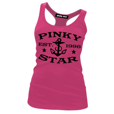 Women's Pinky Star Pinky Star Established 1998 Racerback Tank Top Pink Logo