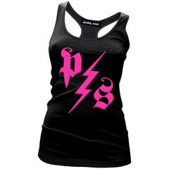 Women's Pinky Star Pinky Star Lightning Racerback Tank Top Black/Pink Punk