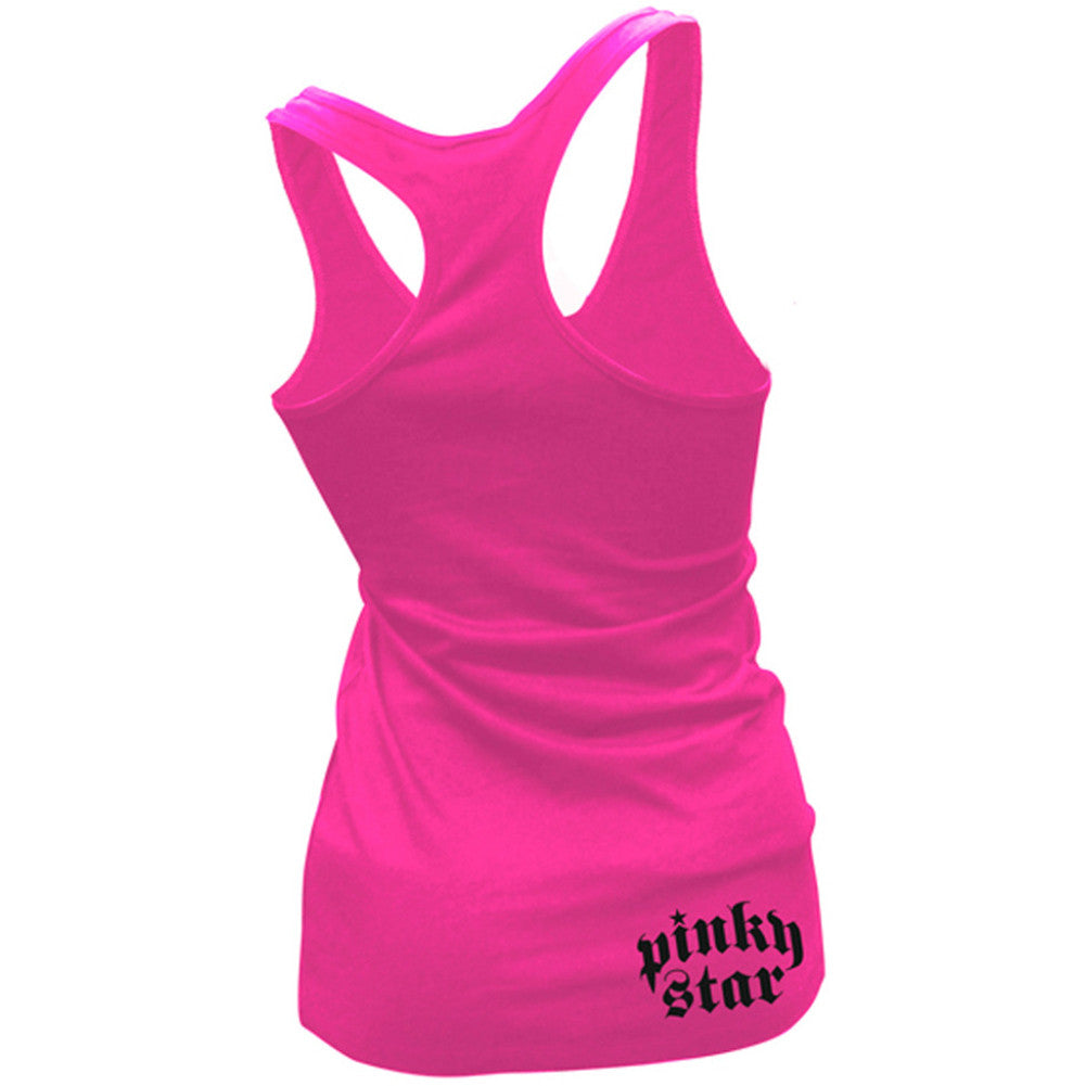 Women's Pinky Star Pinky Star Lightning Racerback Tank Top Pink Punk