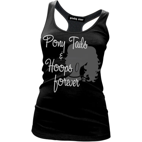 Women's Pinky Star Pony Tails And Hoops Racer Back Tank Top Black Silhouette