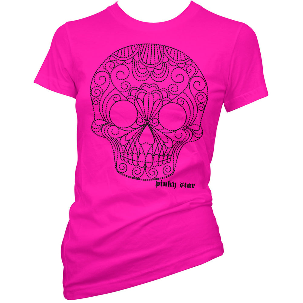 Women's Pinky Star Quilted Skull T-Shirt Pink Sugar Skull Day of the Dead