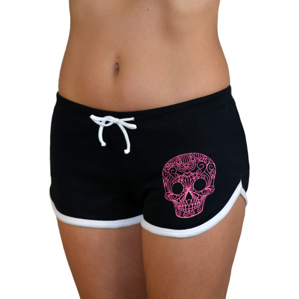 Women's Pinky Star Quilted Sugar Skull Shorts Day of the Dead