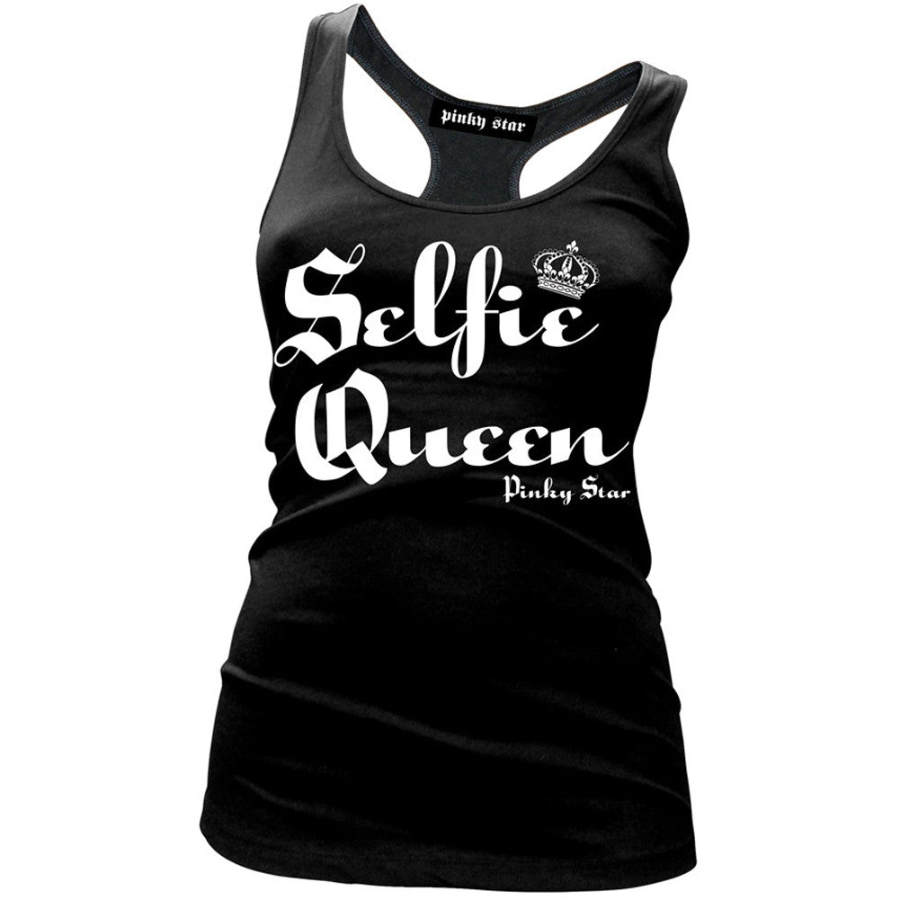 Women's Pinky Star Selfie Queen Racerback Tank Top Black Selfies Pics