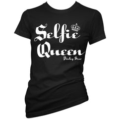 Women's Pinky Star Selfie Queen T-Shirt Black Selfies Pics