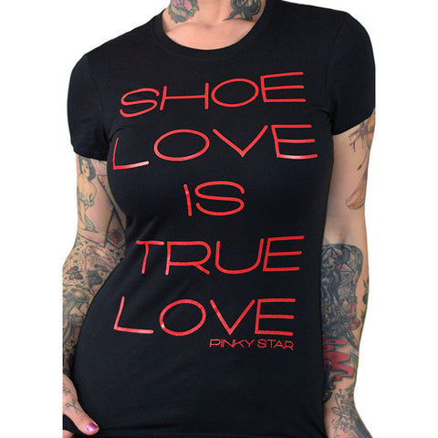 Women's Pinky Star Shoe Love Is True Love T-Shirt Shopping Retail Therapy