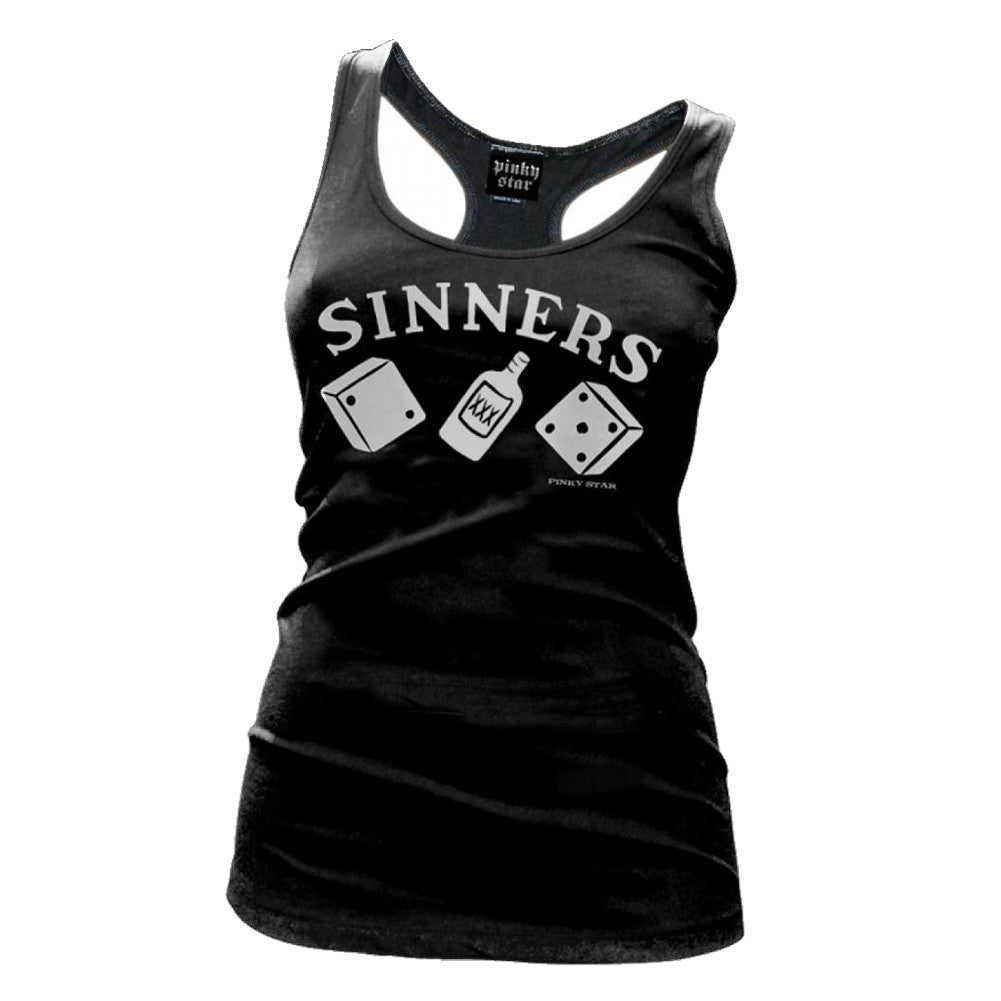 Women's Pinky Star Sinners Raceerback Tank Top Gambling Drinking
