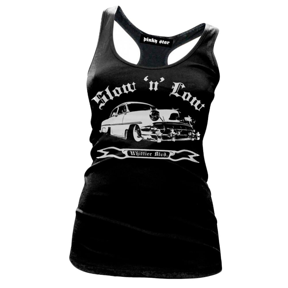 Womens Pinky Star Slow And Low Racerback Tank Top Classic Car Lead Sled Lowrider