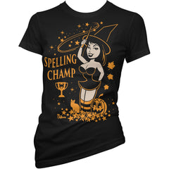 Women's Pinky Star Spelling Champ T-Shirt Black Pin Up Halloween
