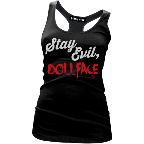 Women's Pinky Star Stay Evil Doll Face Tank Top Black Goth Psychobilly