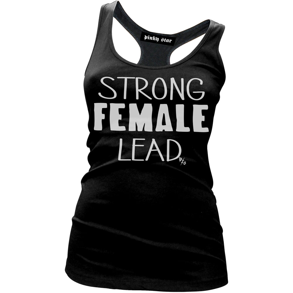 Women's Pinky Star Strong Female Lead Racer Back Tank Top Black Girl Power