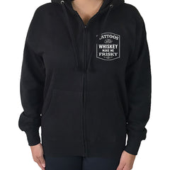 Women's Pinky Star Tattoos & Whiskey Make Me Frisky Hoodie Black Ink Booze