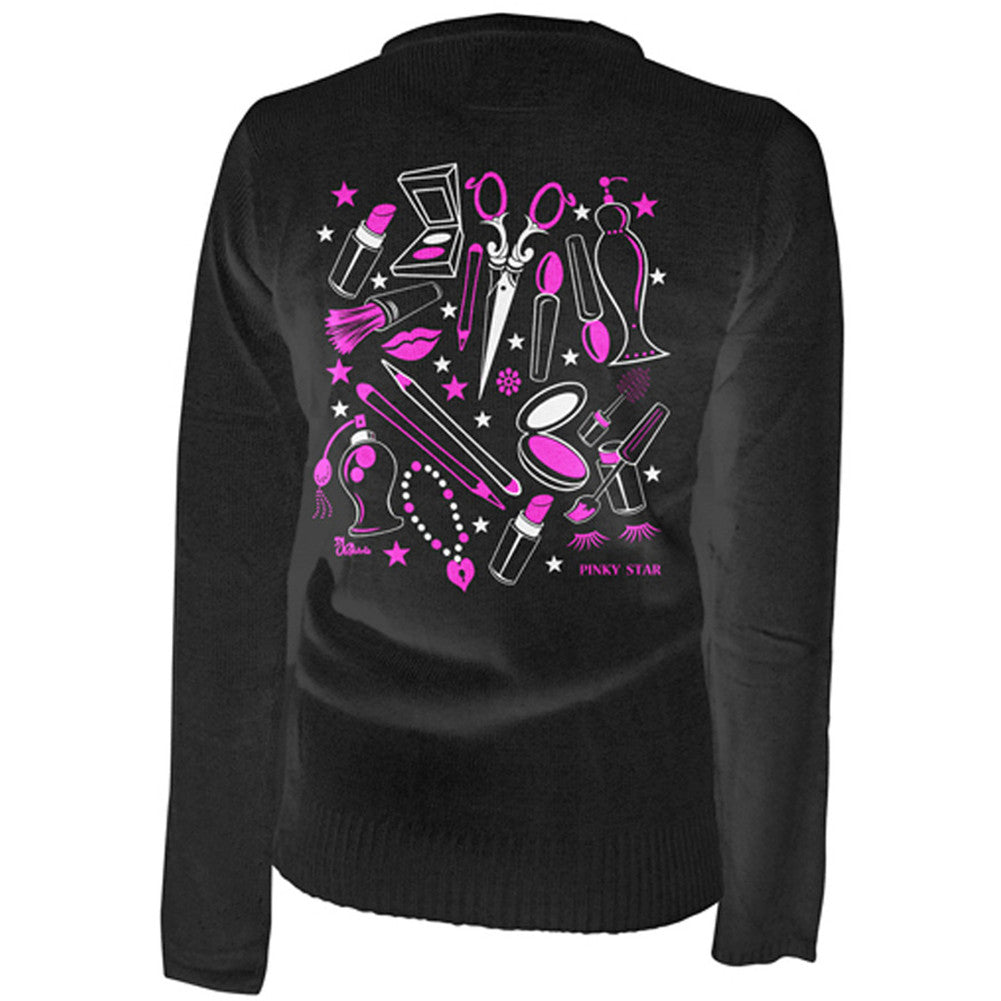 Women's Pinky Star Weapons Of Choice Cardigan Black Makeup Beauty Supplies