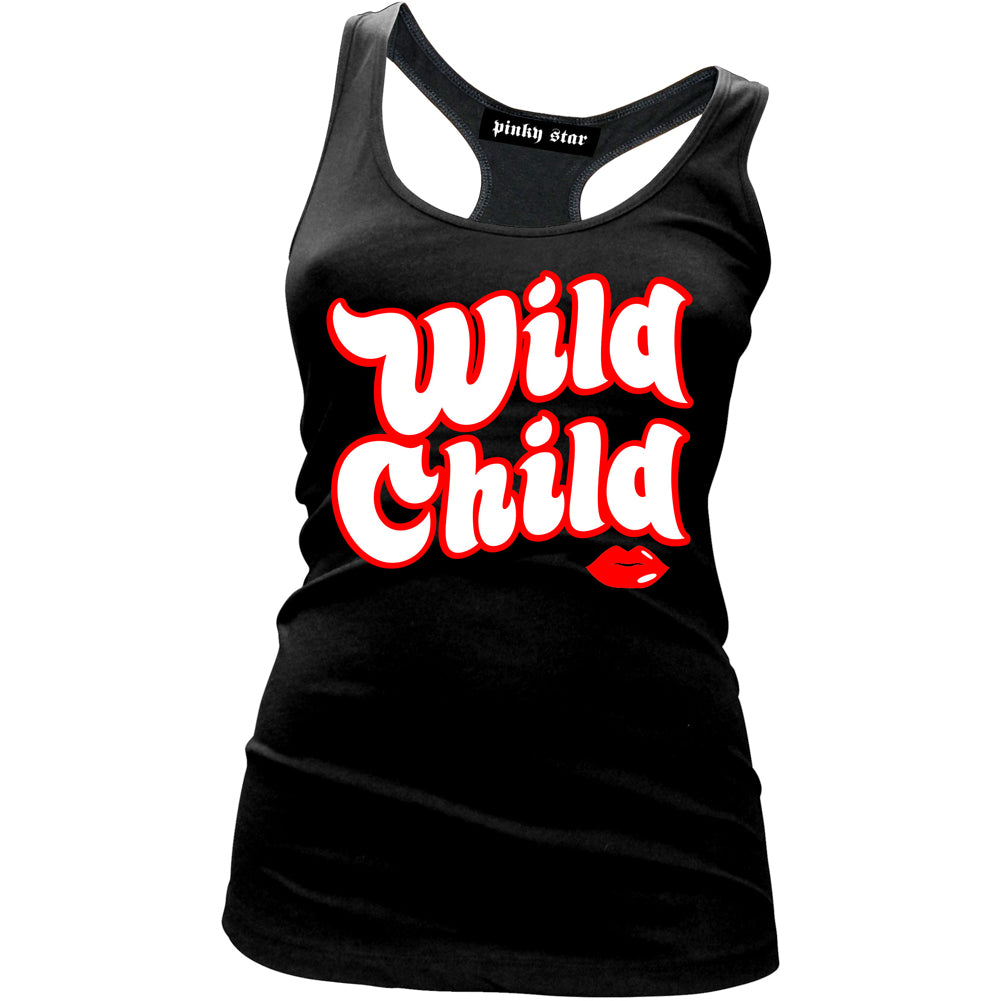 Women's Pinky Star Wild Child Racer Back Tank Top Black Crazy Girl